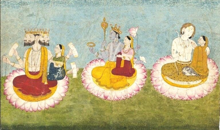 Brahma,_Vishnu_and_Shiva_seated_on_lotuses_with_their_consorts,_ca1770